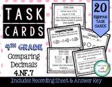 4.NF.7 Comparing Decimals 4th Grade Task Cards|