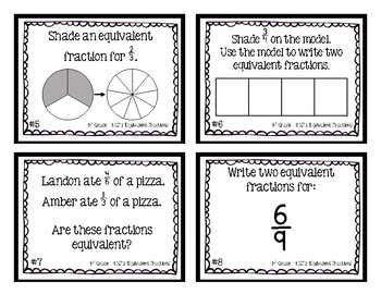 4th Grade Task Cards| Equivalent Fractions 4.NF.A.1