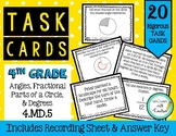 4th Grade Task Cards| Fractional Parts of a Circle (Angles & Degrees) 4.MD.5