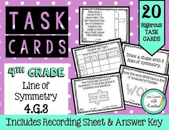 4th Grade Task Cards | Line of Symmetry 4.G.3
