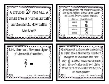 4th Grade Task Cards| Multiply Fractions 4.NF.4