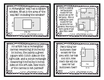 4th Grade Task Cards| Perimeter and Area 4.MD.3