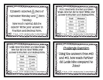 4th Grade Task Cards| Relating & Adding Fractions & Decimals 4.NF.5/6