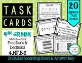 4.NF.5/6 Relating & Adding Fractions & Decimals 4th Grade Task Cards