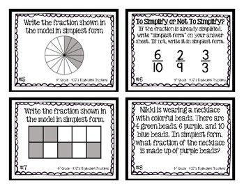 4th Grade Task Cards| Simplest Form & Common Denominators 4.NF.A.1