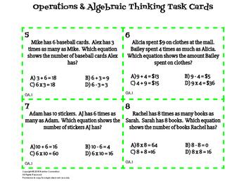 4th Grade Task Cards for OA Standards