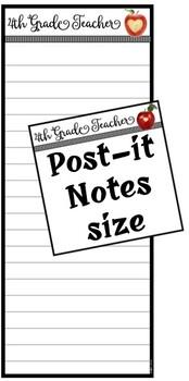 """4th Grade Teacher"" Notepad Sheets Set {Editable}"