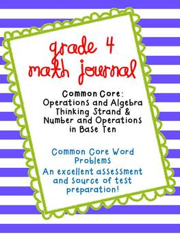 4th Grade Math Journal:  Numbers & Operations Common Core Strand