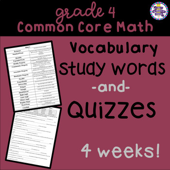 4th Grade Test Prep End of Grade Math Vocabulary and Quizzes {Common Core} {EOG}