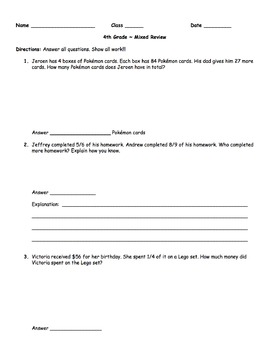 4th Grade - Test Prep - FREEBIE