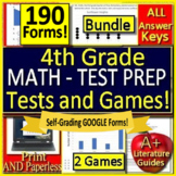 4th Grade Test Prep Math Practice AND Games Bundle - Spiral Review CCSS Google!