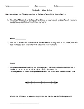 4th Grade - Test Prep - Set 3
