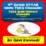 4th Grade Texas MATH STAAR TEKS Checklist!