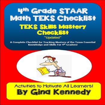 A Complete 4th Grade Texas MATH STAAR TEKS Checklist!