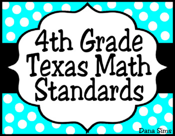 4th Grade Texas Math Standards (TEKS) Posters in Aqua and Black