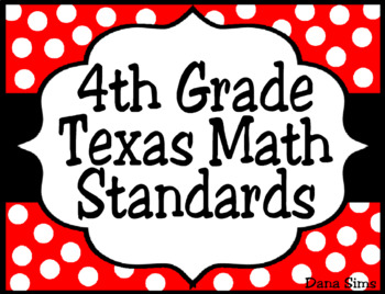 4th Grade Texas Math Standards (TEKS) Posters in Red and Black