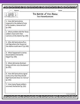4th Grade Texas Revolution & Alamo Worksheets (Quizzes, Matching,  Vocabulary)
