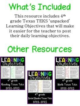 4th Grade Texas TEKS Reading ELA Learning Objectives Cards