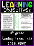 4th Grade Texas TEKS Reading ELA Learning Objectives Cards | Color & B&W