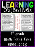 4th Grade Texas TEKS Math Learning Objectives Cards   Color & B&W