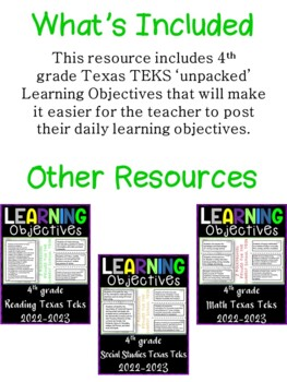 4th Grade Texas TEKS Social Studies Learning Objectives Cards