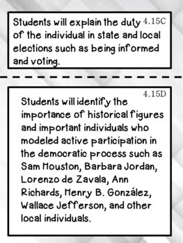 4th Grade Texas TEKS Social Studies Learning Objectives Cards | Color & B&W