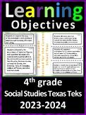 4th Grade Texas TEKS Social Studies Learning Objectives Ca