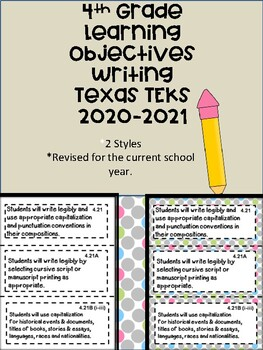 4th Grade Texas TEKS Writing Learning Objectives Cards