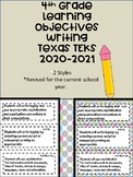 4th Grade Texas TEKS Writing Learning Objectives Cards   C