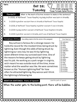 4th Grade Texas Tornado Daily Language Spiral Review GROWING BUNDLE:  TEKS Based