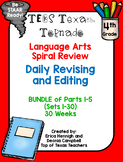 4th Grade Texas Tornado Daily Revise & Edit TEKS Spiral Review BUNDLE: Parts 1-5