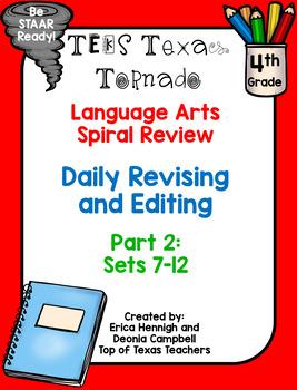 4th Grade Texas Tornado Daily Revise & Edit TEKS Spiral Review Part 2