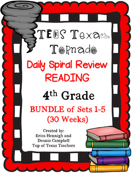 4th Grade Texas Tornado Daily Reading Spiral Review BUNDLE (Sets 1-5) TEKS Based