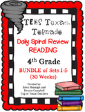 4th Grade Texas Tornado Daily Reading Spiral Review BUNDLE (Sets 1-5) TEKS Based