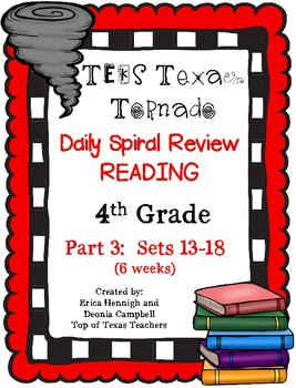 4th Grade Texas Tornado Daily Reading Spiral Review PART 3 TEKS Based