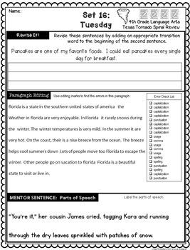 4th Grade Texas Tornado Language Spiral Review Part 3: Daily Revise & Edit TEKS