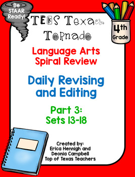 4th Grade Texas Tornado Daily Revise & Edit TEKS Spiral Review Part 3