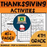 4th Grade Thanksgiving Activities BUNDLE Google Classroom