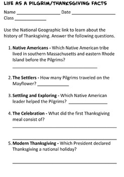 4th Grade Thanksgiving Pilgrim Web Quest and Essay