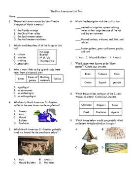 4th Grade The First Americans Unit Test