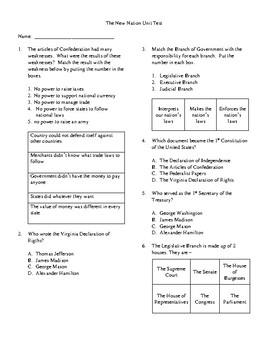 4th Grade The New Nation Unit Test