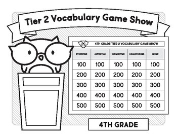 4th Grade Tier 2 Vocabulary Game Show by Word to the Wise | TpT
