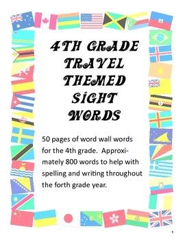 4th Grade Travel themed Word Wall