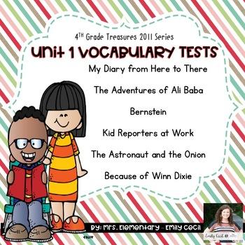 4th Grade Treasures Units 1-6 Vocabulary Tests Bundle