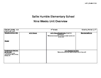 4th Grade Unit 1 Common Core 9 week pacing chart