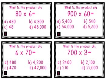 4th Grade Unit 1: Place Value, Rounding, Subtraction, Addition Task Cards