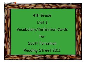 4th Grade Unit 1 Vocab Scott Foresman Reading Street 2011