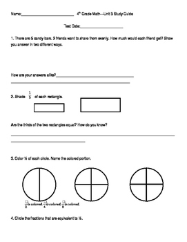 4th Grade Unit 3 Study Guide for Everyday Math 4