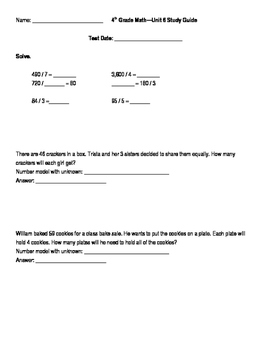 4th Grade Unit 6 Study Guide for Everyday Math 4