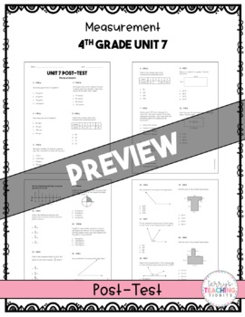 4th Grade Unit 7 Math Test Pack {Paper and Pencil}